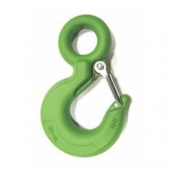 Крюк для строп с фиксатором 1600 кг - зеленый с замком